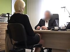 Blonde, Clothed Sex, Couple, Hardcore, Missionary, Money, Office, Shaved Pussy,