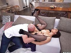 Big Tits, Blowjob, Brunette, Couch, Doggystyle, Extreme, Fake Tits, Handjob, Hardcore, HD,