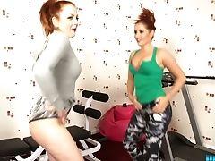 Ass, Babe, Beauty, Big Tits, Boots, Gym, HD, Lesbian, Lingerie, Redhead,