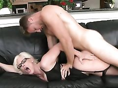 Ball Licking, Balls, Blonde, Blowjob, Bold, Deepthroat, Dick, Drooling, Exhibitionist, Facial,