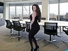 Ass, Babe, Bold, Boobless, Boots, Brunette, Dancing, Lingerie, Naughty, Office,