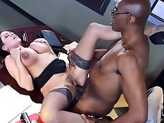 Big Black Cock, Big Tits, Black, Blowjob, Desk, Fake Tits, HD, Interracial, MILF, Office,