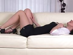 Brunette, Enza, Fingering, High Heels, Masturbation, MILF, Model, Panties, Shaved Pussy, Solo,