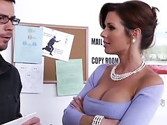 American, Babe, Beauty, Big Tits, Blowjob, Boss, Brunette, Clothed Sex, Desk, Gorgeous,