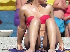 Amatoriale, In Spiaggia, Ravvicinato, Horny, Adolescente, Topless, Voyeur,