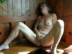 Amateur, Boobless, Close Up, Fingering, Granny, Horny, Masturbation, Pussy, Sauna, Softcore,