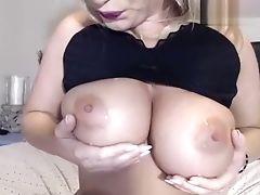 Grote Tieten, Blond, Dildo, Rubber, Seksspeeltjes, Webcam,