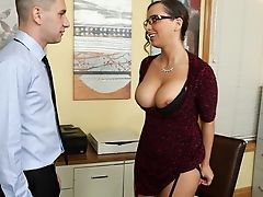 American, Babe, Big Tits, Bold, Boss, Brunette, Clothed Sex, Cougar, Desk, Glasses,
