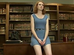 American, Cute, Desk, Dress, Ginger, Legs, Librarian, Masturbation, Redhead, Sex Toys,