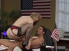 Desk, Horny, Mature, Nina Hartley, Pussy,