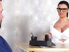 Big Tits, Blowjob, Brunette, Business Woman, Couch, Cum On Tits, Cumshot, Deepthroat, Fake Tits, Glasses,