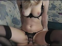 Amateur, Bra, Couple, Cowgirl, Cute, Hardcore, Natural Tits, Nylon, POV, Stockings,