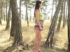 Cameltoe, Fingering, Forest, HD, Jerking, Long Hair, Masturbation, Model, Natural Tits, Pussy,