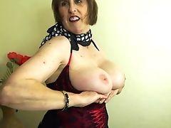 Amateur, Big Tits, British, Granny, Jerking, Mature, Stockings,