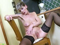 Blonde, Cunt, Exhibitionist, Fingering, Granny, Jerking, Masturbation, Mature, Panties, Stockings,