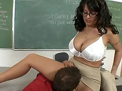 BBW, Big Ass, Big Tits, Blowjob, Brunette, Classroom, Clothed Sex, College, Desk, Dick,