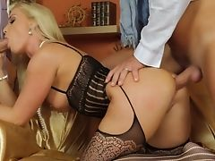 Anal Sex, Babe, Blonde, Blowjob, Clamp, Double Penetration, Handjob, Lingerie, MILF, Threesome,