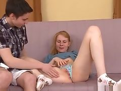 Blowjob, Boobless, Friend, Ginger, Masturbation, Redhead, Russian, Teen,
