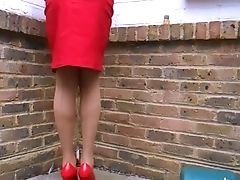 British, Latex, Secretary, Stockings, Tanned,
