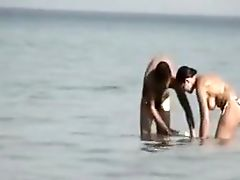Beach, Big Tits, Brunette, Outdoor, Public, Voyeur,