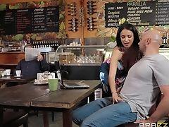 Bar, Big Tits, Blowjob, Bold, Brunette, From Behind, Hardcore, HD, Long Hair, Natural Tits,