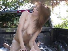 Chica, Bikini, Rubia, Mamada, Desnuda, Topless, Carro, Llena De Semen, Tierna, Malla De Pescador,